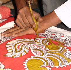 Hand painted Kalamkari - work in process